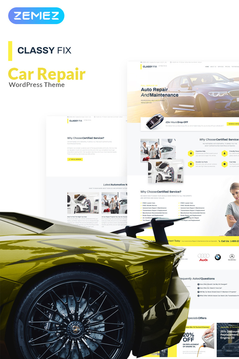 Classy Fix - Car Repair Elementor WordPress Theme