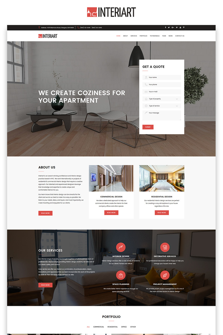 Interior Design Landing Page Html Template