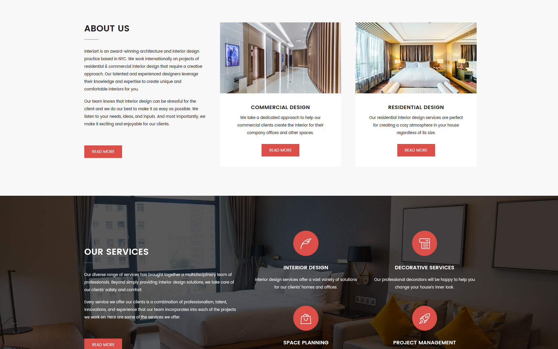 Interiart   Interior Design HTML Landing Page Template Big Screenshot ·  Zoom In Live Demo