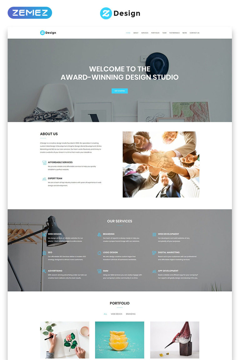 Design Studio Landing Page Html Template