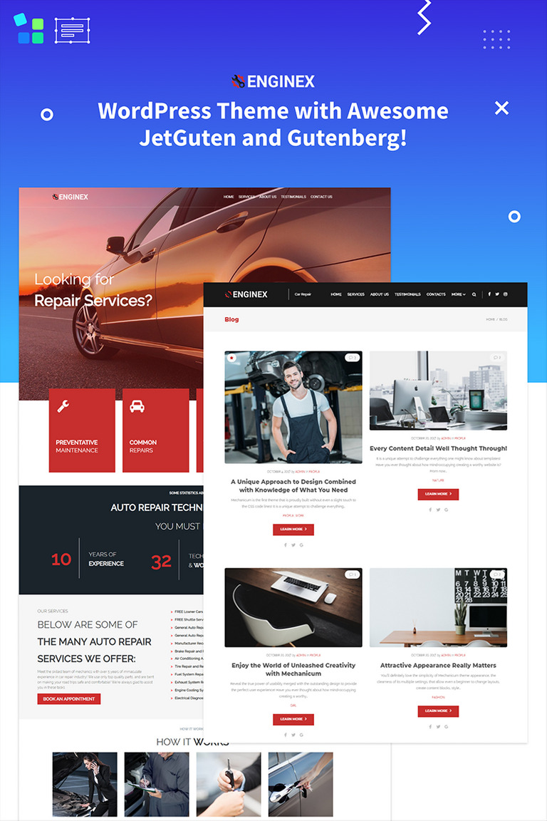 Enginex - Car Repair Gutenberg WordPress Theme