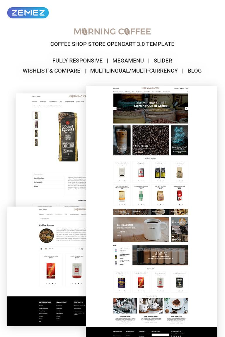 OpenCart Vorlage #71879 für Kaffeeshop