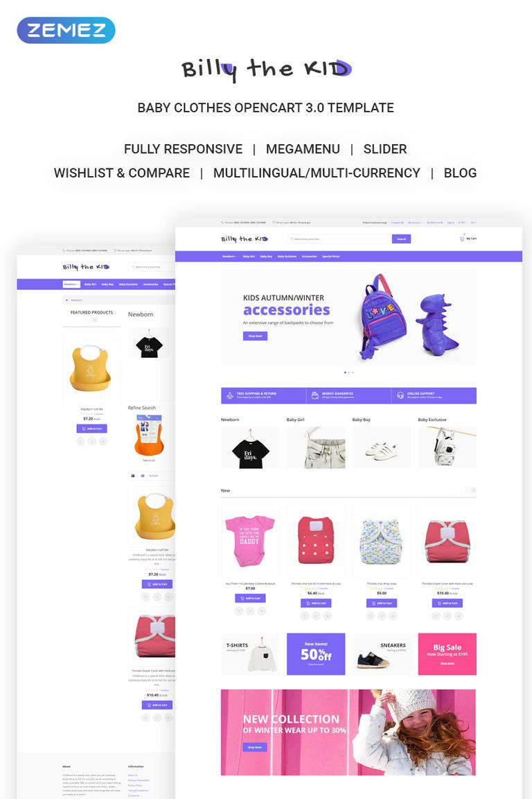 Bill The Kid Simple Kids Fashion Online Opencart Template New Screenshots