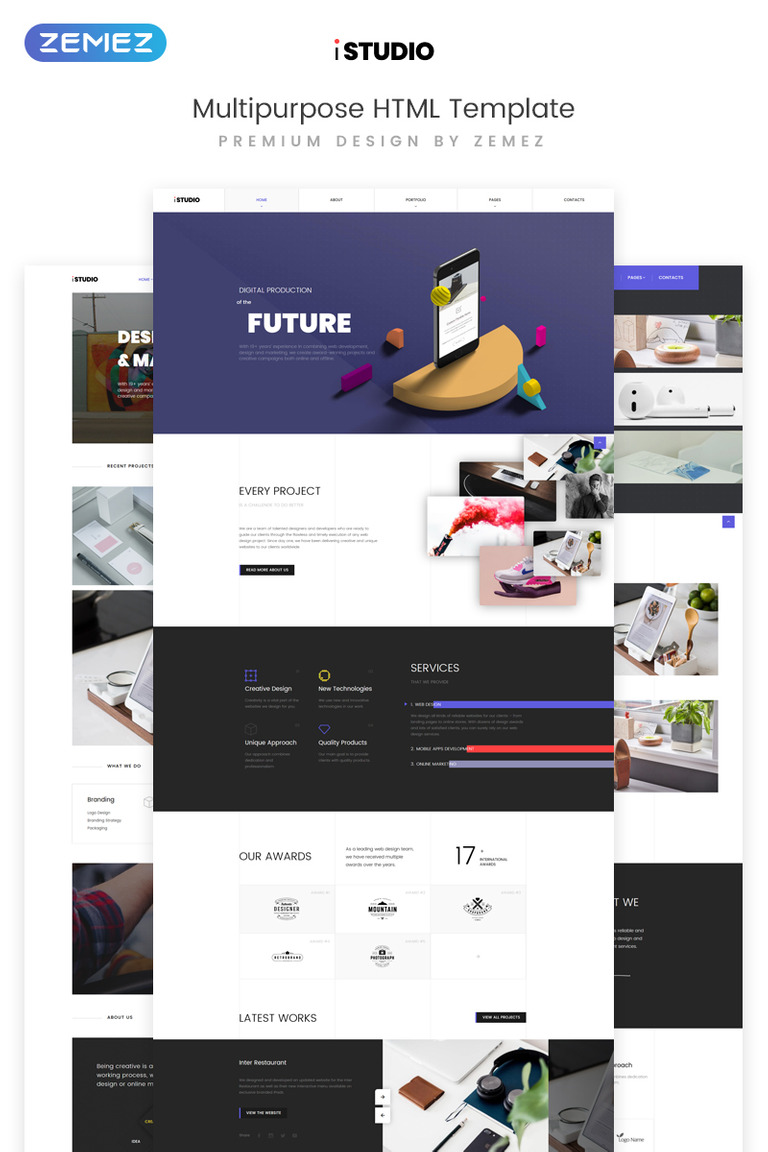 Plantilla Web #73395 para Sitio de Diseño Web