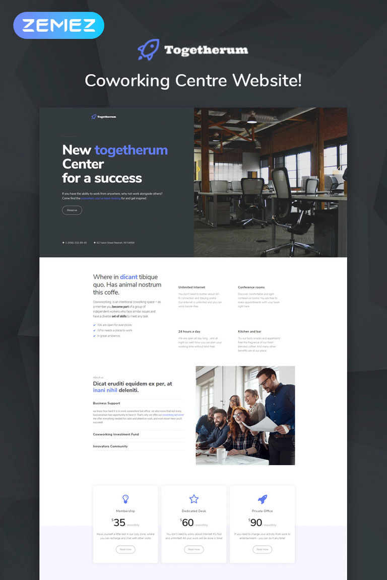 Togetherum - Coworking Centre Elementor WordPress Theme