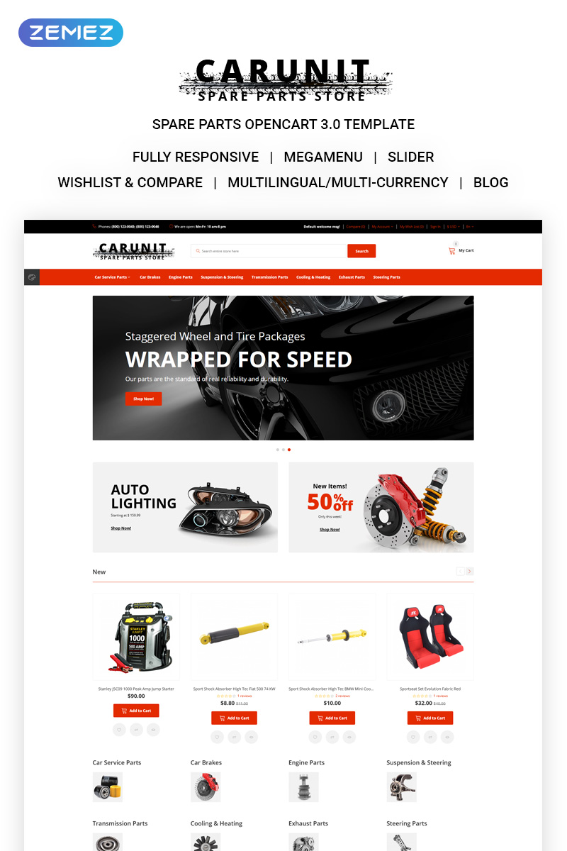 CarUnit - Spare Parts OpenCart Template