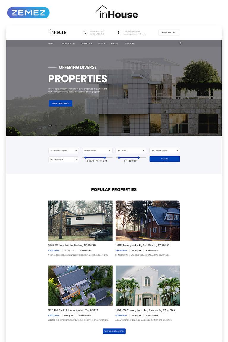 Plantilla Web #73602 para Sitio de Agencias inmobiliarias