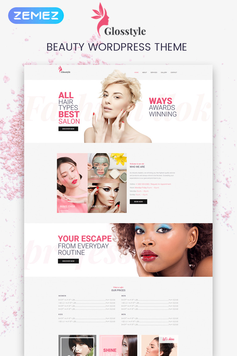 Glosstyle - Beauty Salon Elementor WordPress Theme