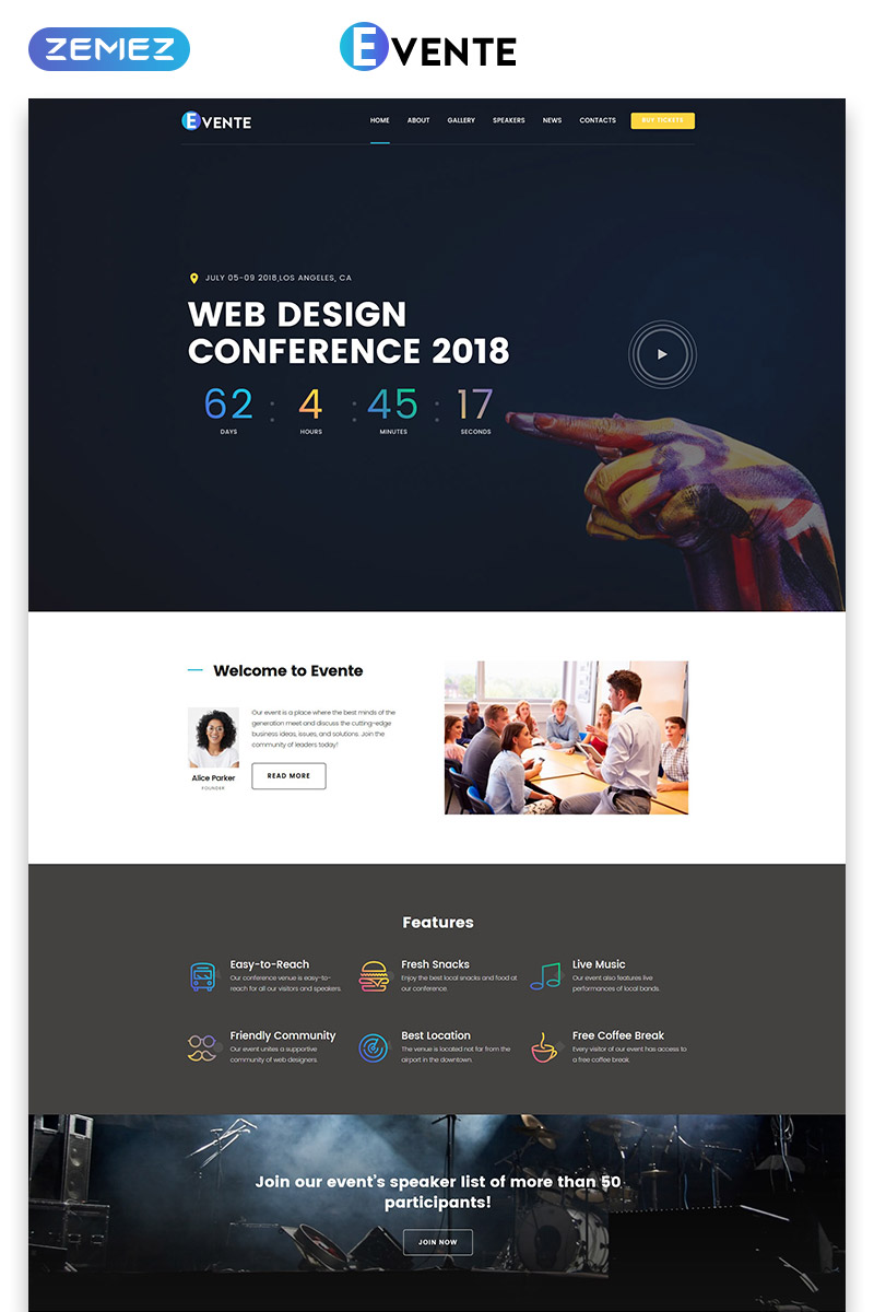 Web Design Conference Landing Page Template