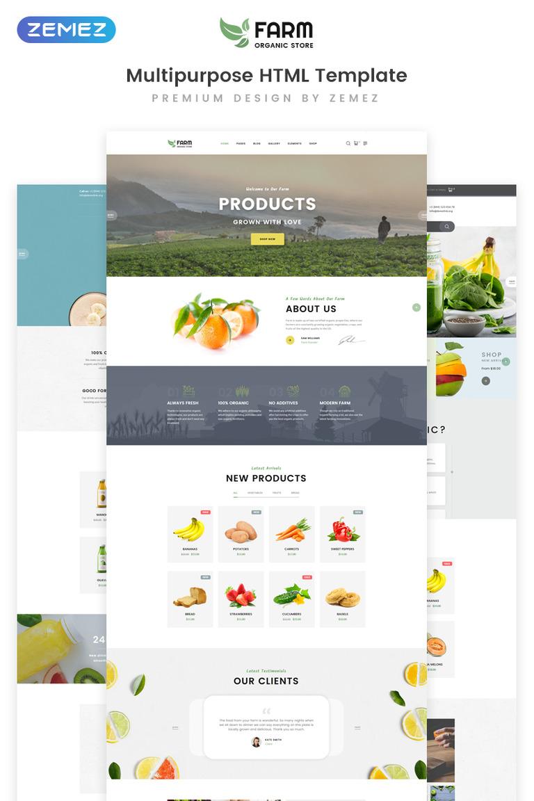 2964c3d42025c9 Organic Farm Multipurpose HTML Website Template Big Screenshot