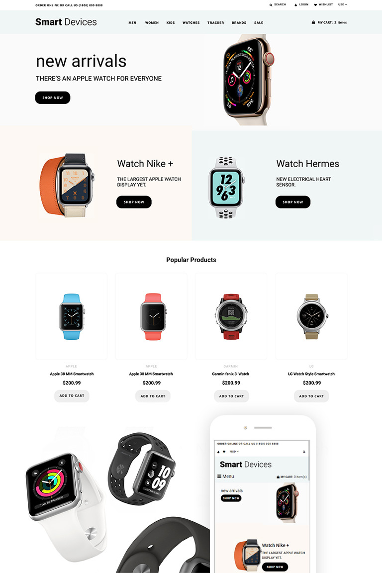 Smart Devices - Smartwatches And Trackers Shopify Theme #74200