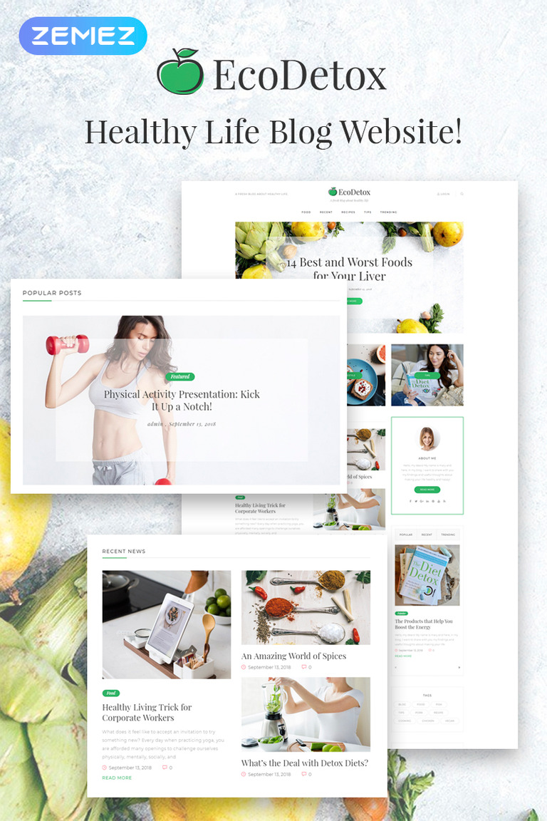 EcoDetox - Healthy Food Blog Elementor WordPress Theme