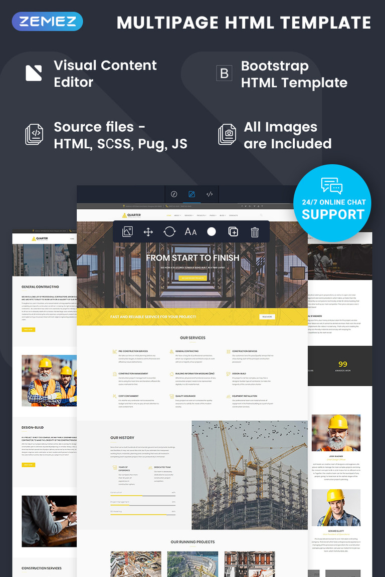 quarter construction html template