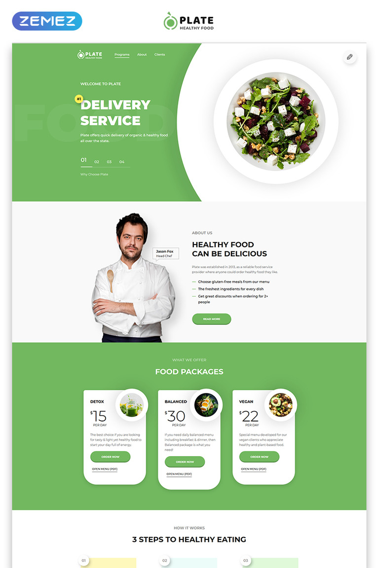 Food Delivery Landing Page HTML Template