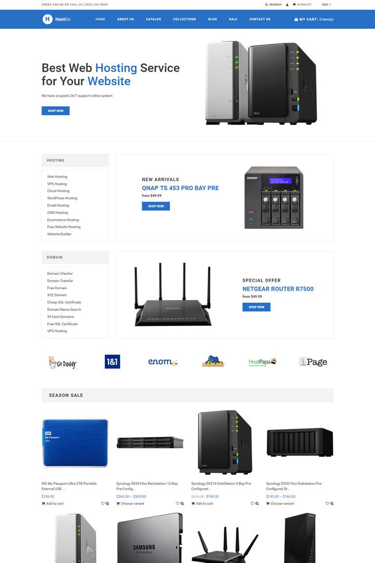 Hostgo Electronics Gadgets Clean Shopify Theme 76976