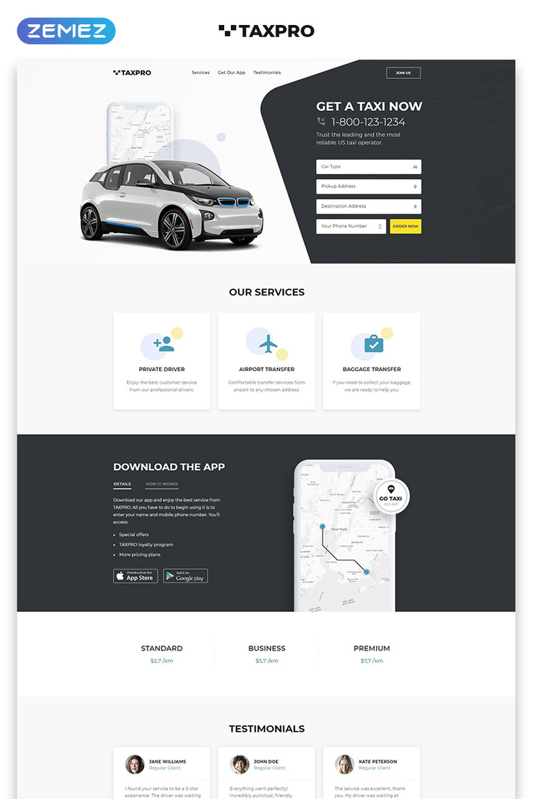 Taxpro Taxi Minimal Bootstrap Html Landing Page Template Screenshot