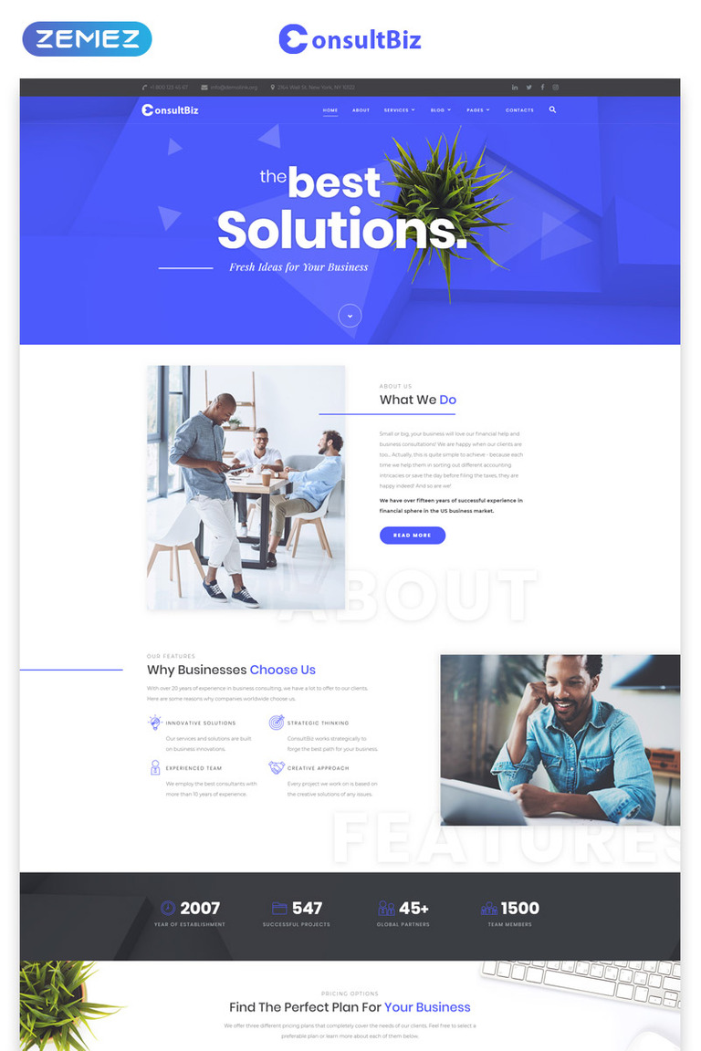 aeed8c3f53aaa3 ConsultBiz - Financial Advisor Multipage Classic HTML Bootstrap Website  Template Big Screenshot