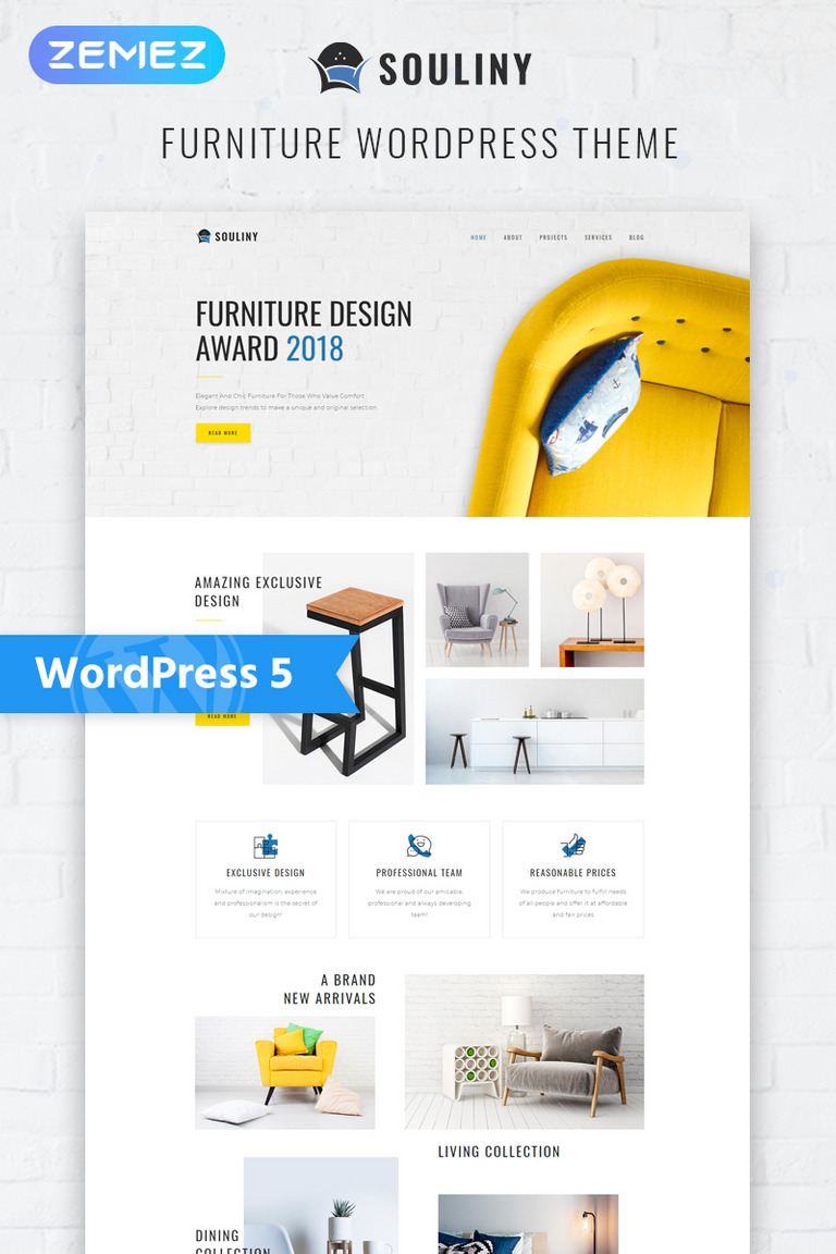 Souliny - Furniture Multipurpose Modern Elementor WordPress Theme