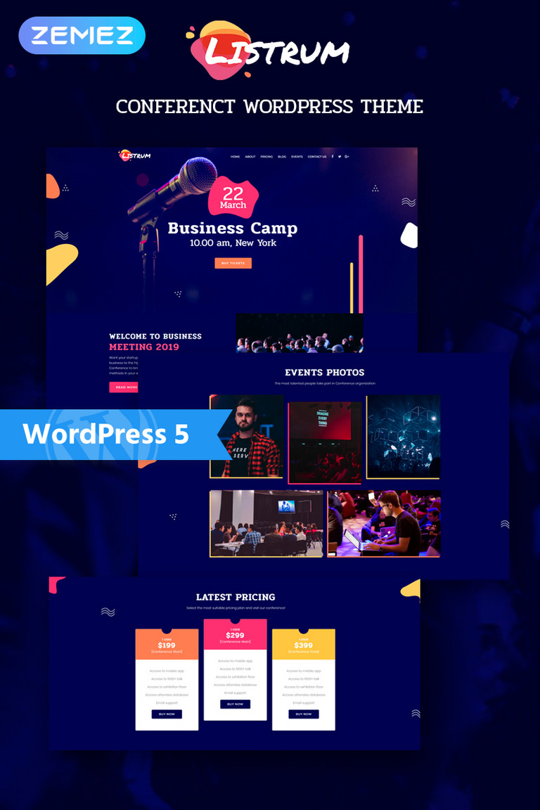 Listrum - Conference One Page Animated Elementor WordPress Theme