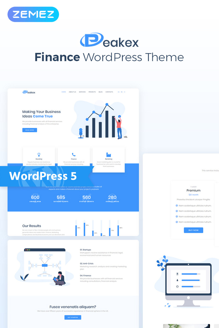 Peakex - Finance Multipurpose Infographic Elementor WordPress Theme