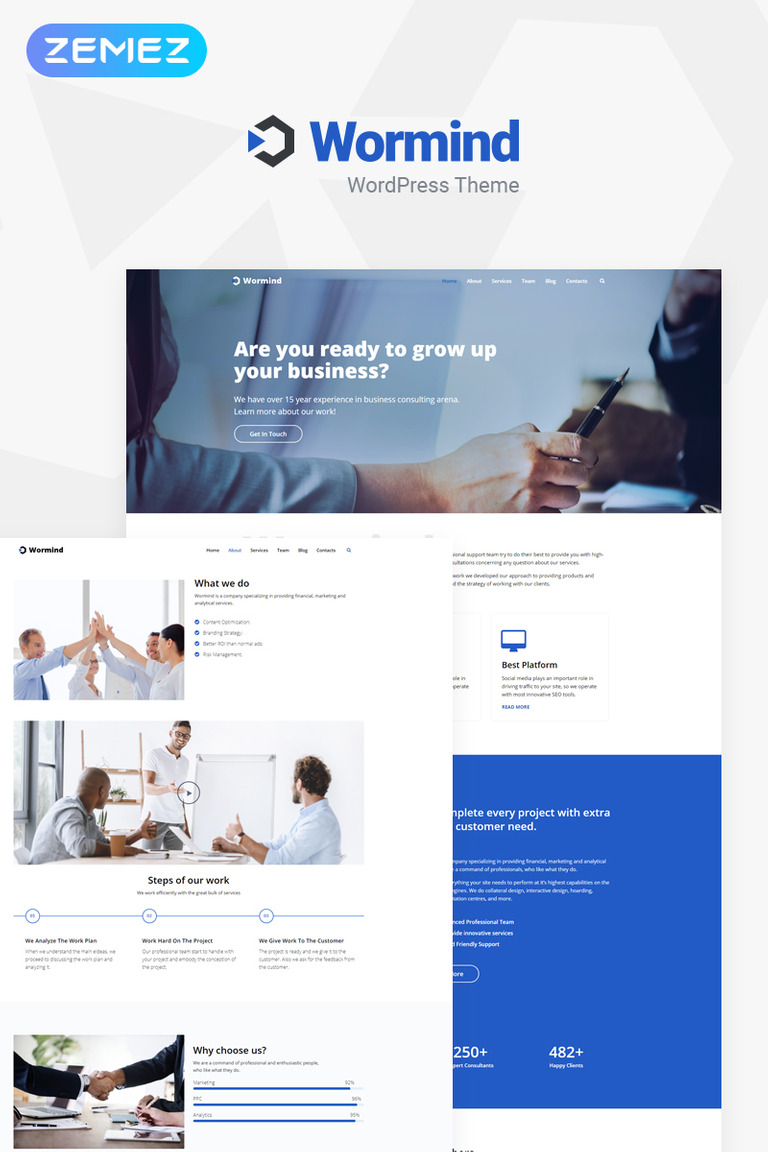 Wormind - Business Multipurpose Classic Elementor WordPress Theme