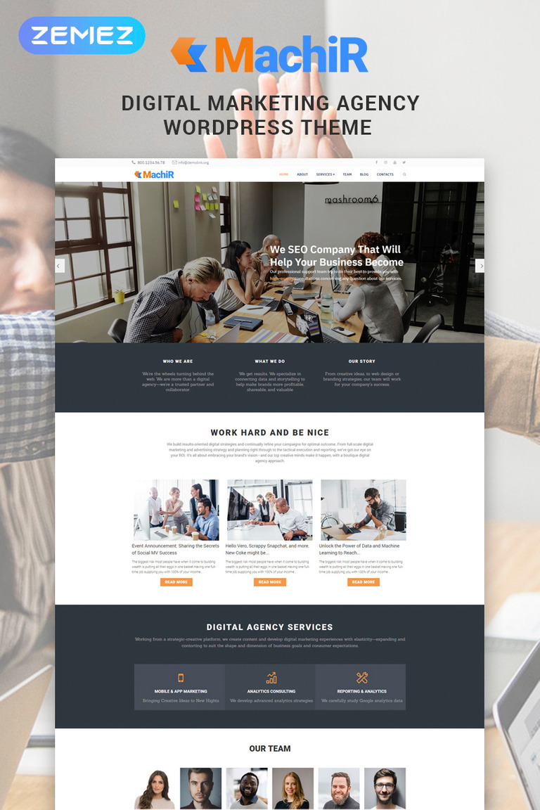 Machir - Digital Marketing Agency Multipurpose Modern Elementor WordPress Theme