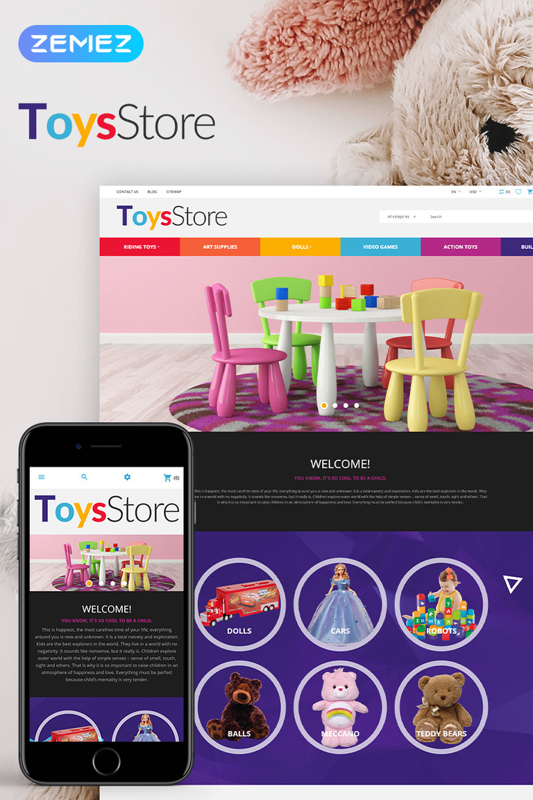1c8b85c81a ToysStore - Kids Play Games Store Clean Bootstrap Tema PrestaShop №79730  Screenshot Grade