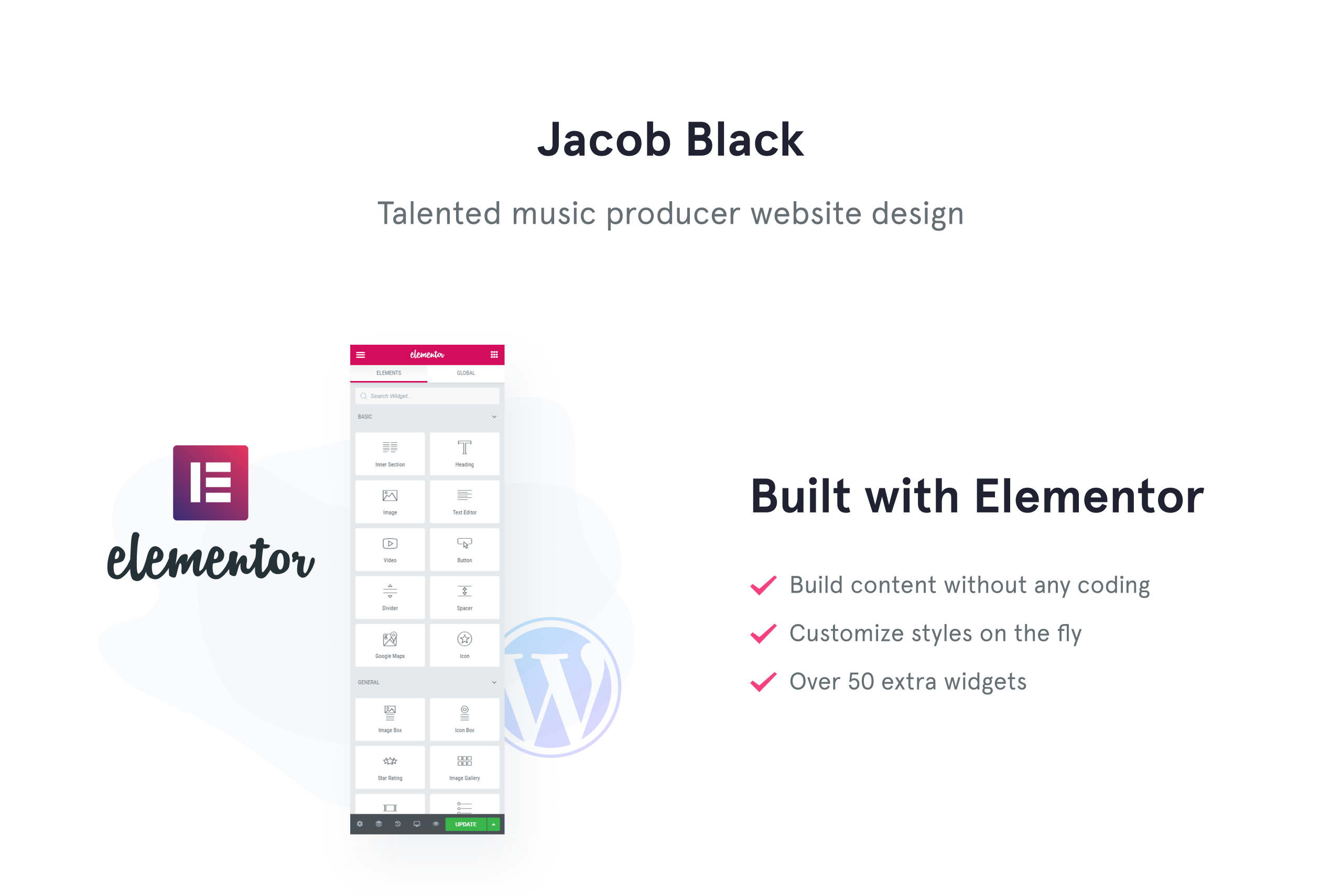Jacob Black - Talented Music Producer Website Design WordPress Theme
