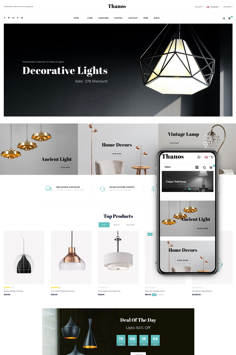 Thanos lighting store opencart template 73686