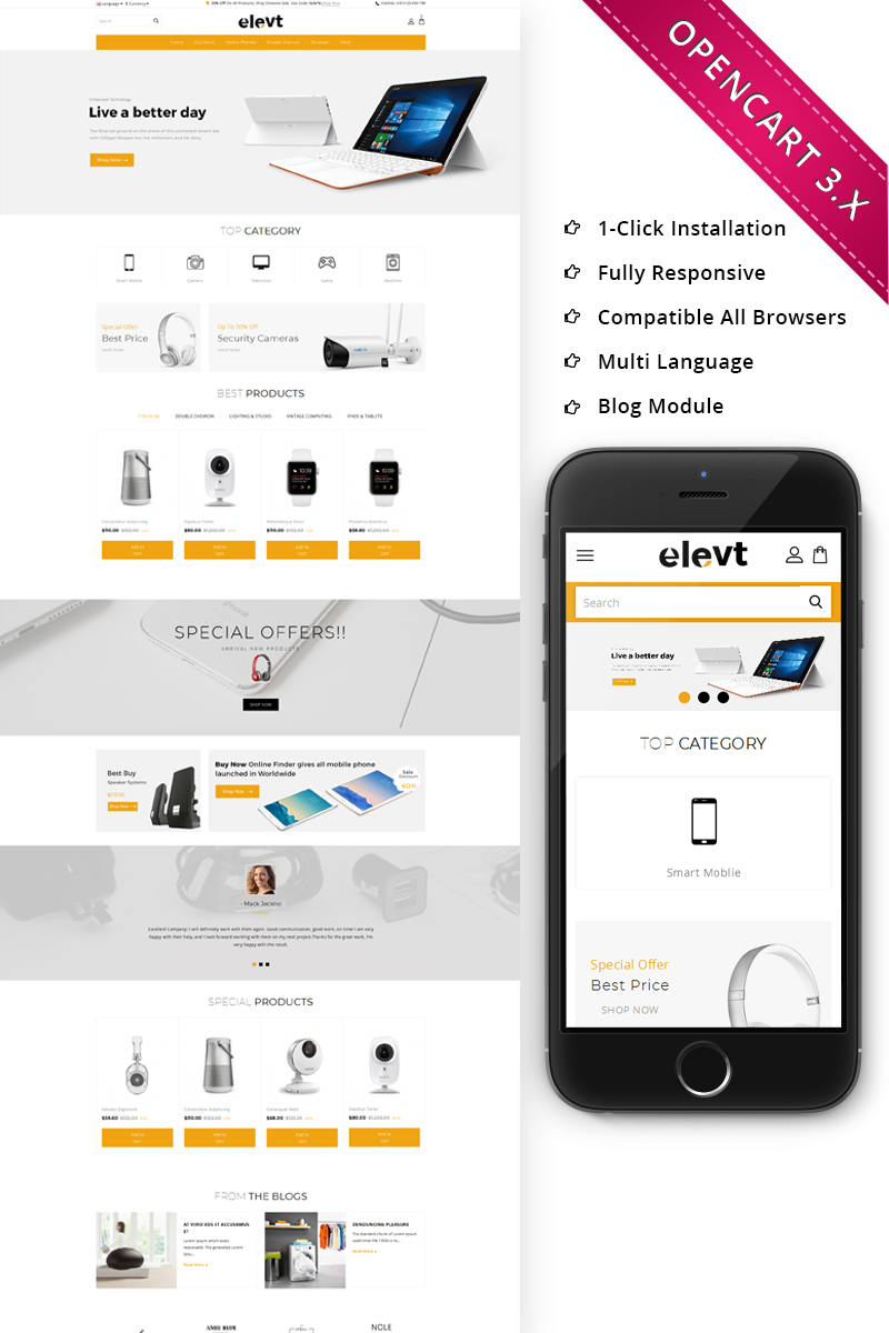 Elevt Electronic Store Responsive Opencart Template 70405
