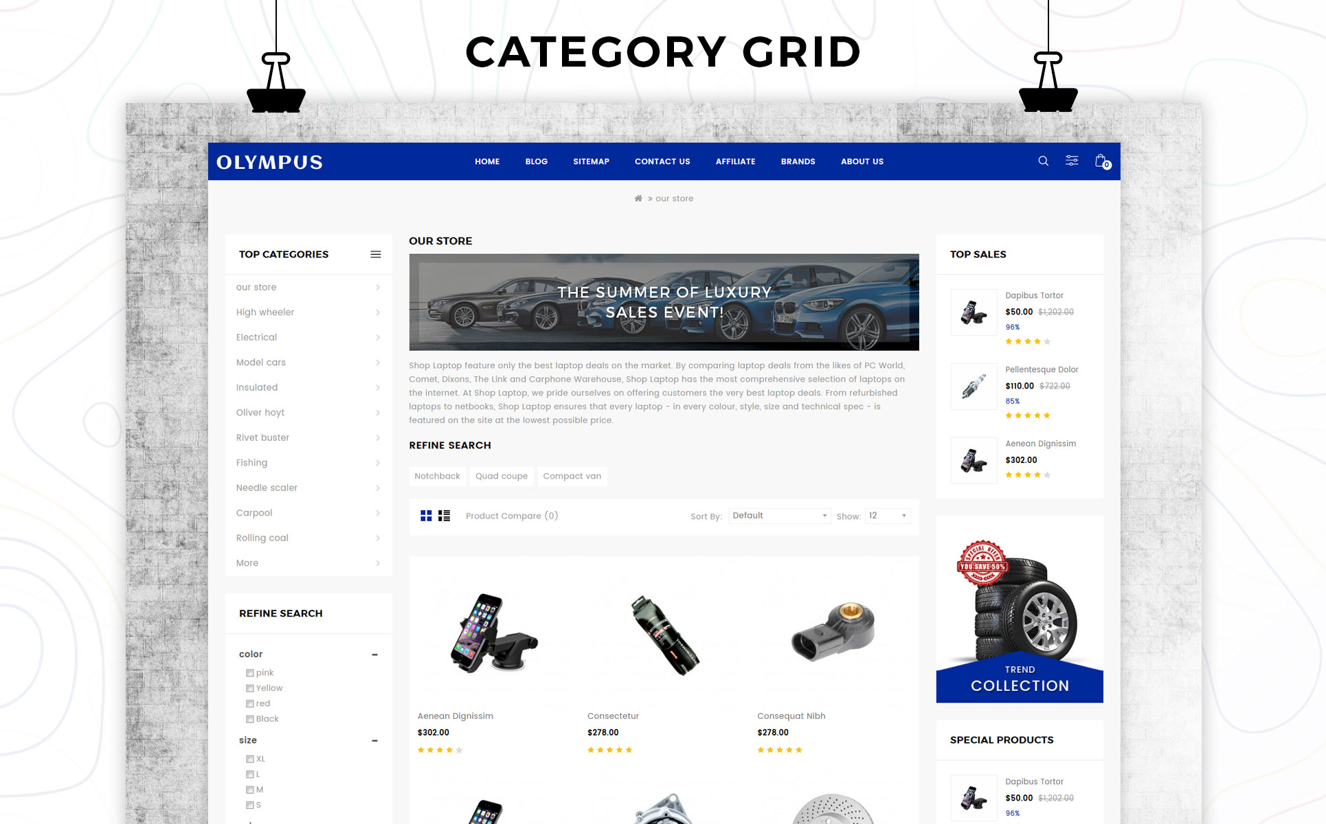 Plantilla para opencart - Categoría: Coches y motos - versión para Desktop