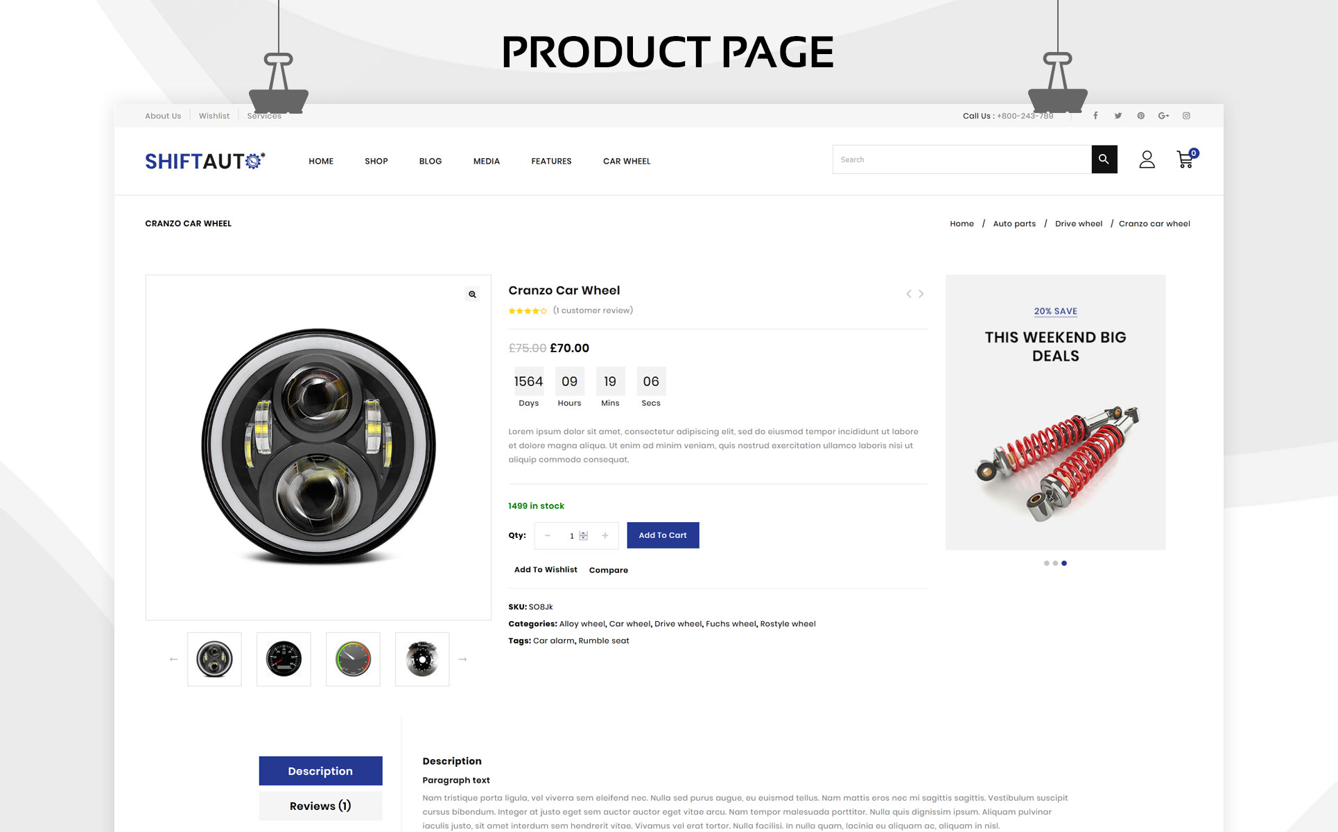 Shiftauto - The Autoparts Store Responsive WooCommerce Theme