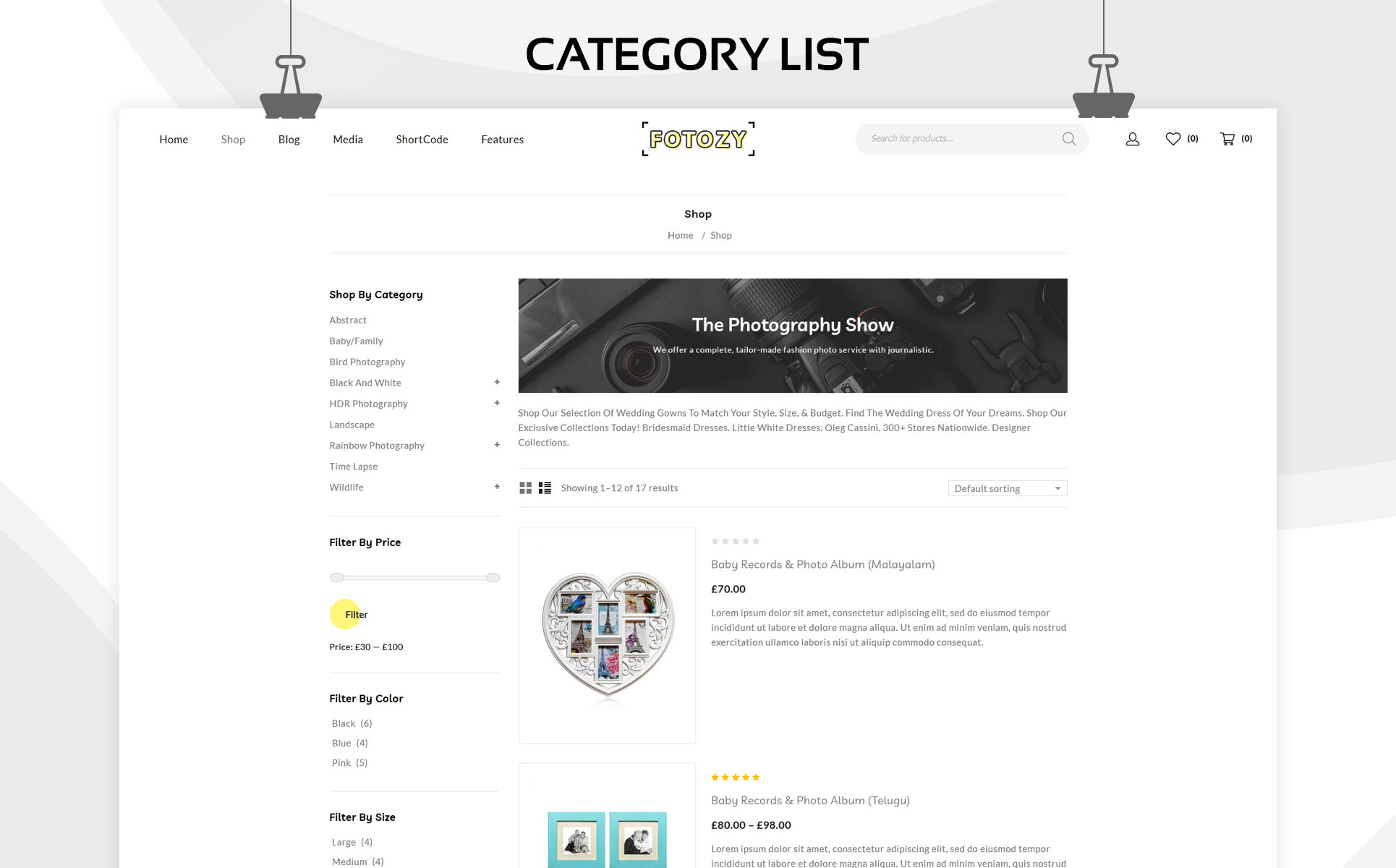 Fotozy - The Photography Store Responsove WooCommerce Theme