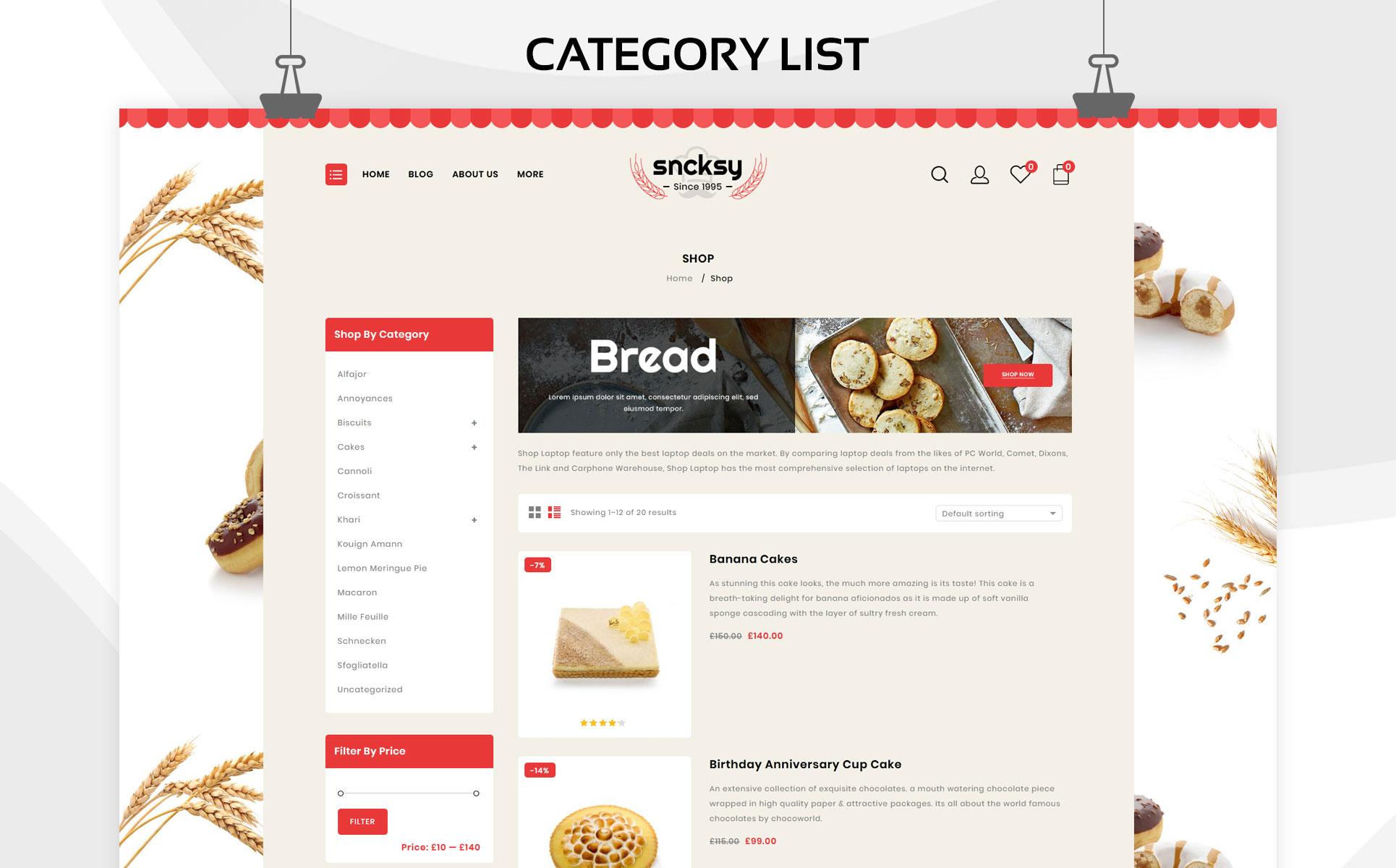 Sncksy - The Bakery Store Responsive WooCommerce Theme