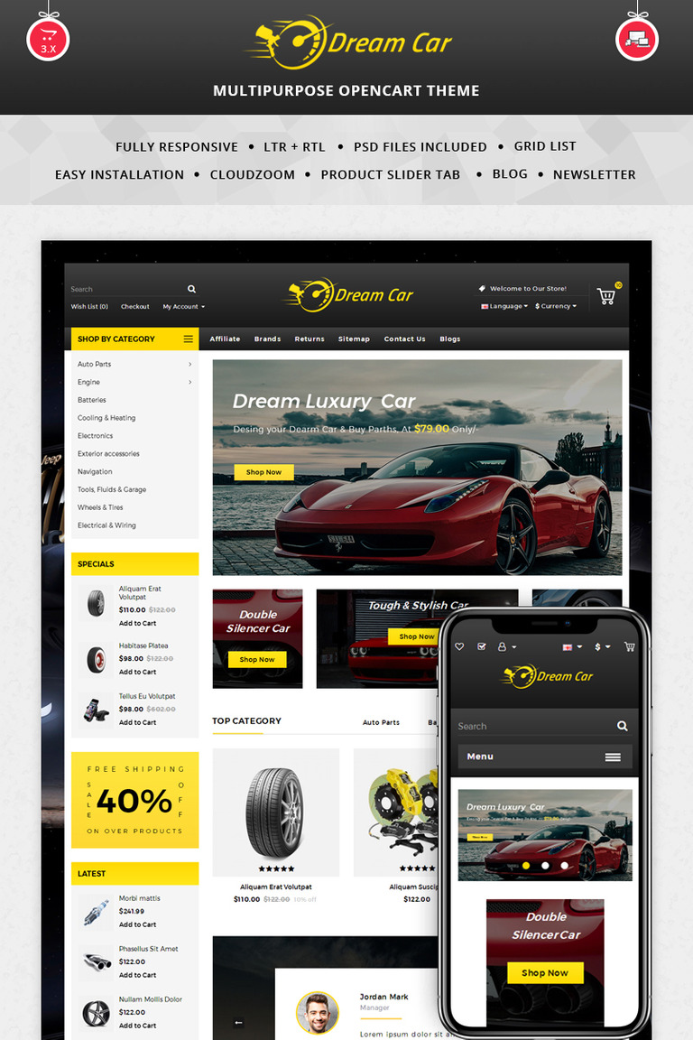 Dream Car - Auto Store OpenCart Template #69290