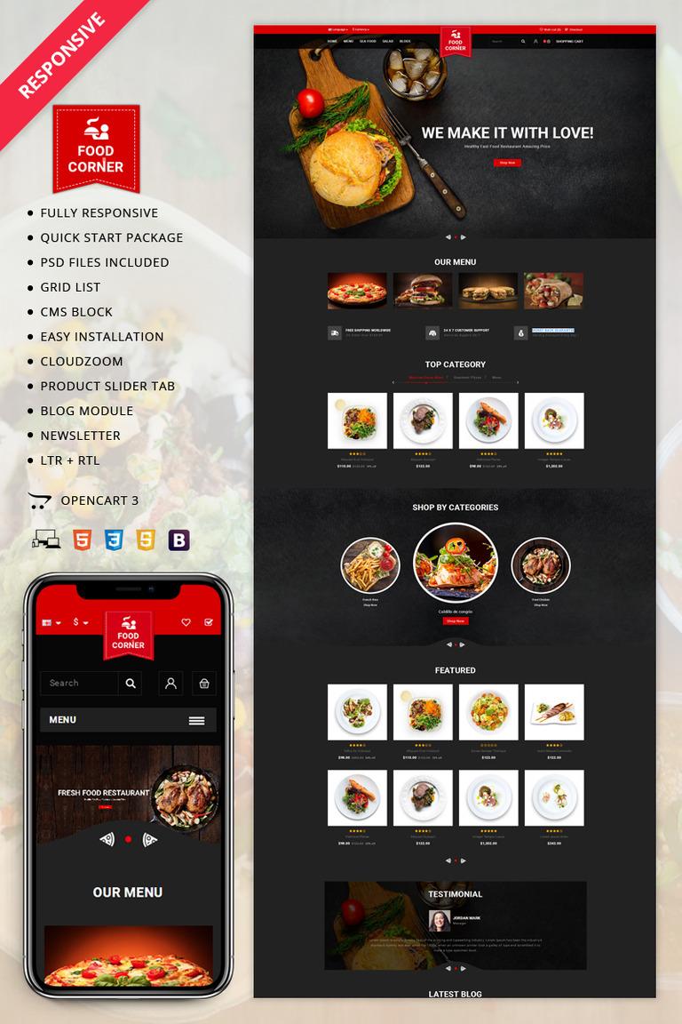 93de2b57217 Foodcorner OpenCart Template Big Screenshot