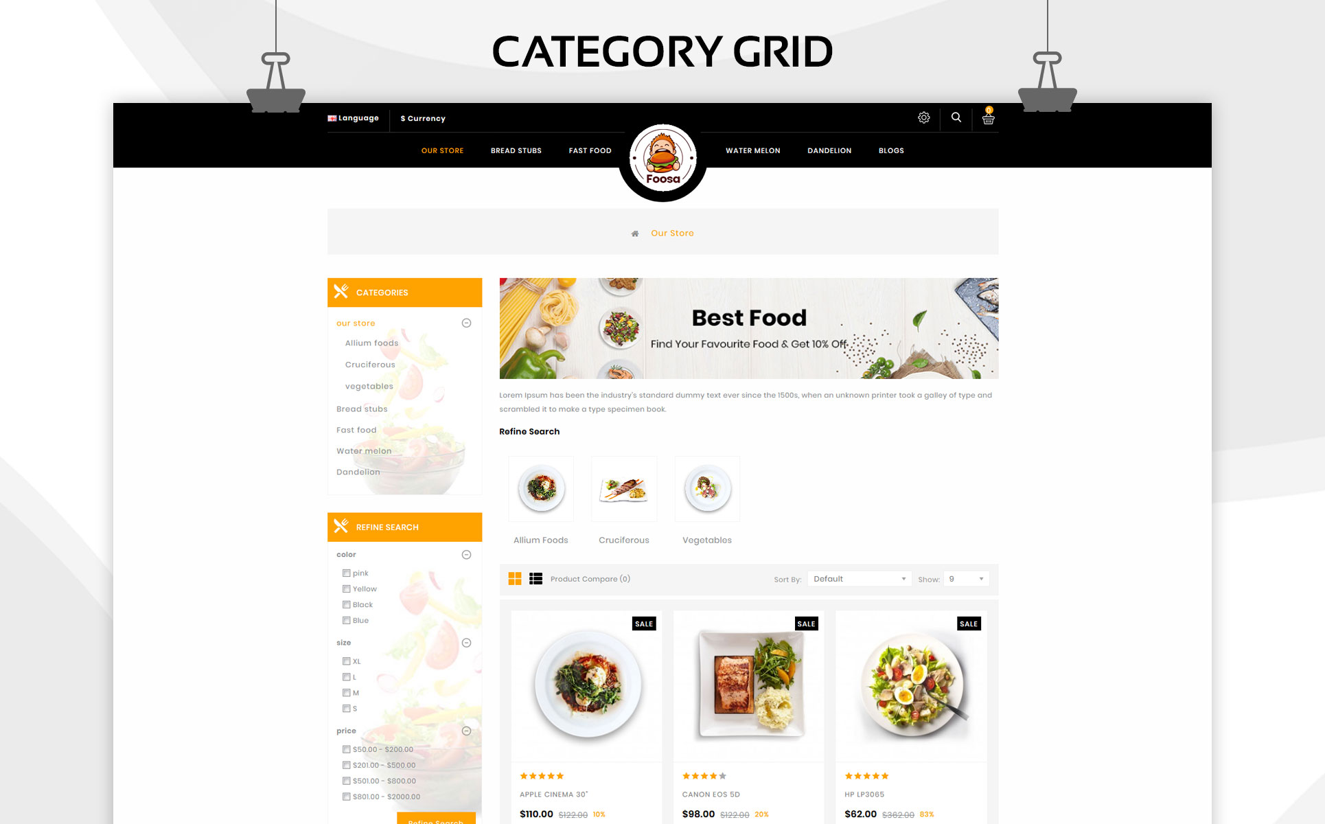 Foosa Fast Food - OpenCart Template