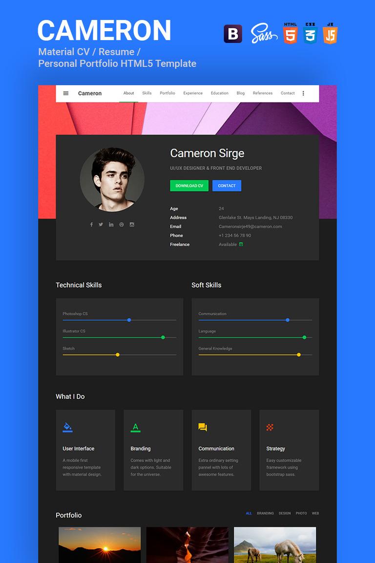 cameron material cv resume vcard portfolio html template website template big screenshot - Resume Web Template