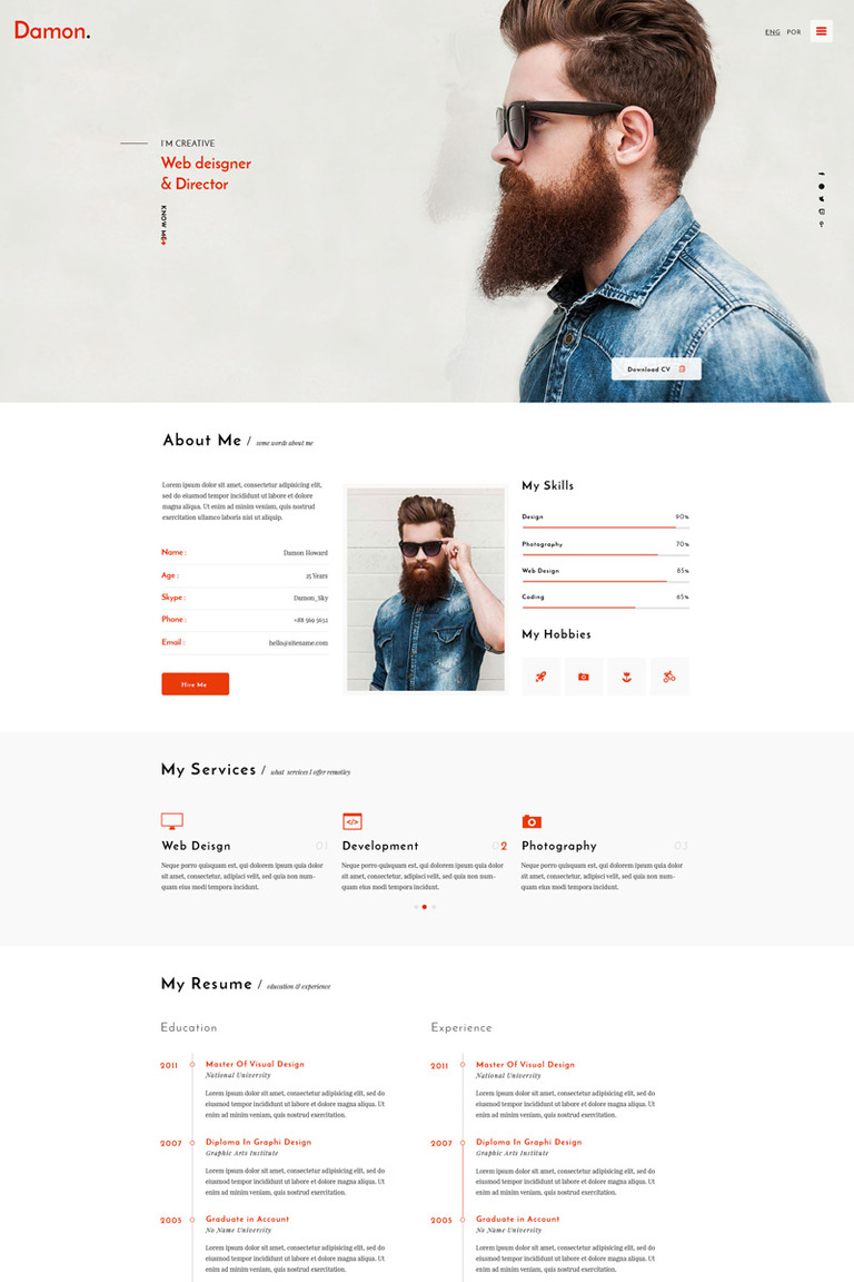 Damon - Resume Website Template #64551