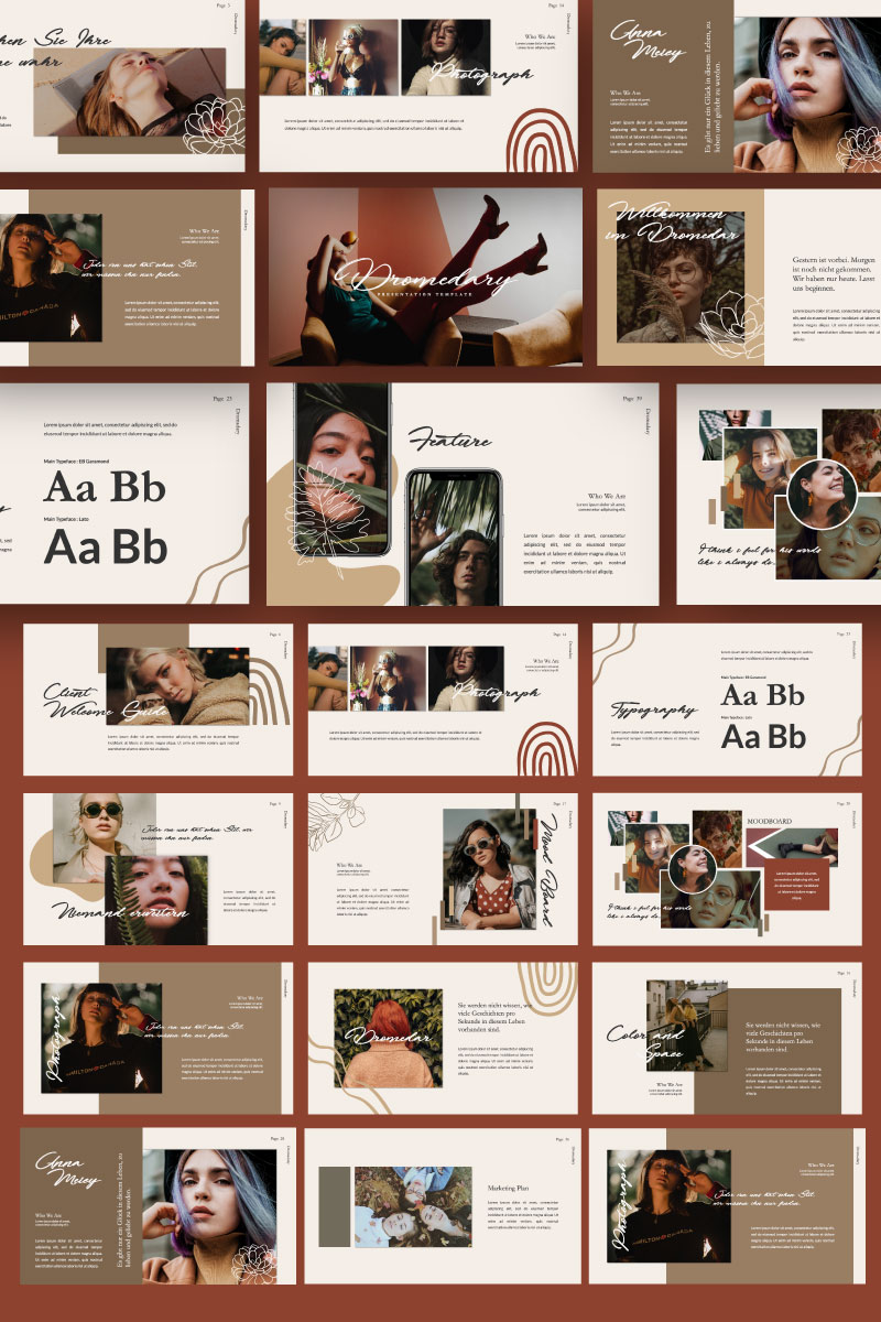 Dromadary Shets Brand PowerPoint Template #80979