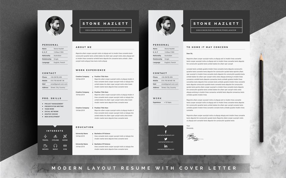 Stone Hazlett   2 Page Resume Template Big Screenshot