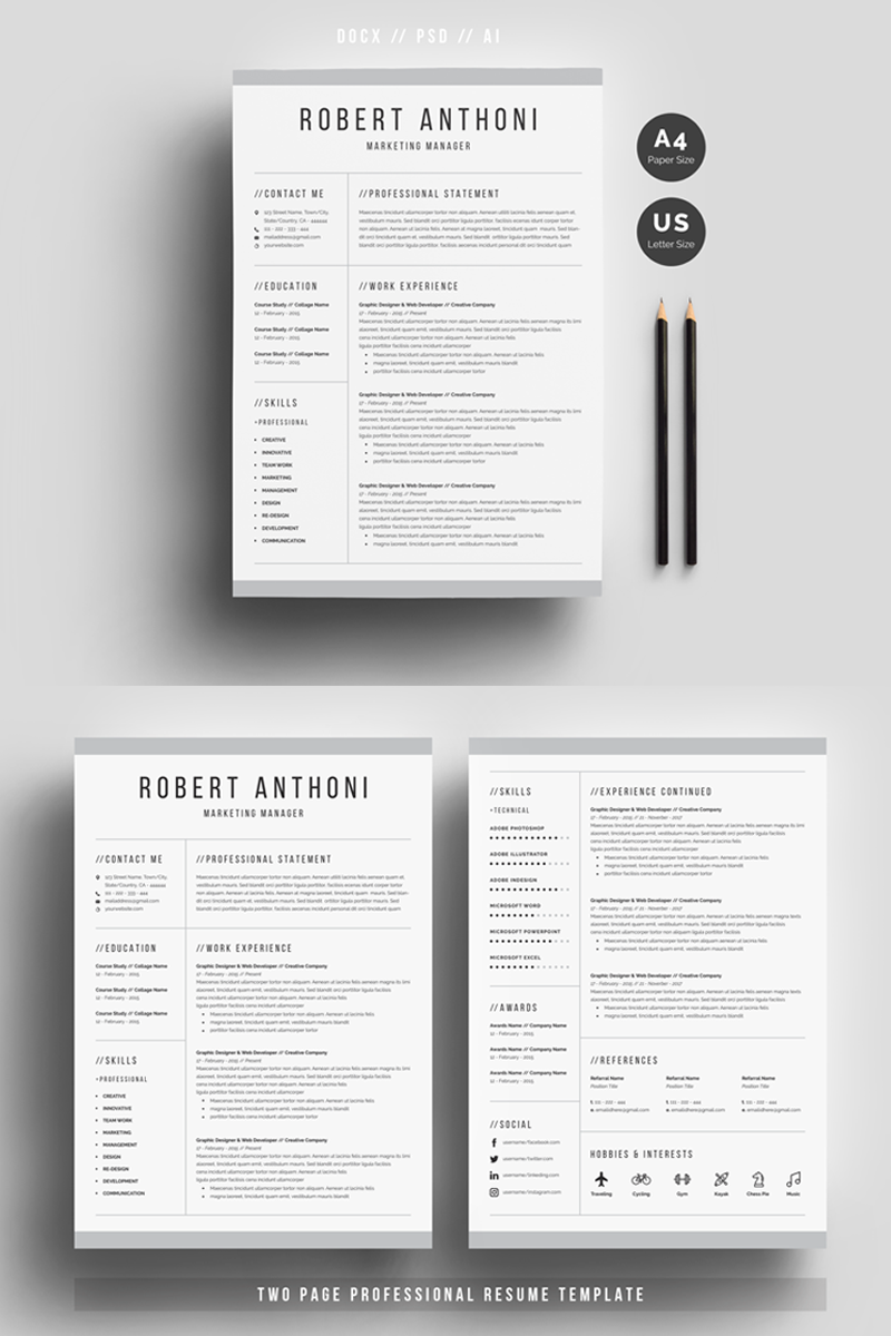 Robert Anthoni Clean Resume Template 69612