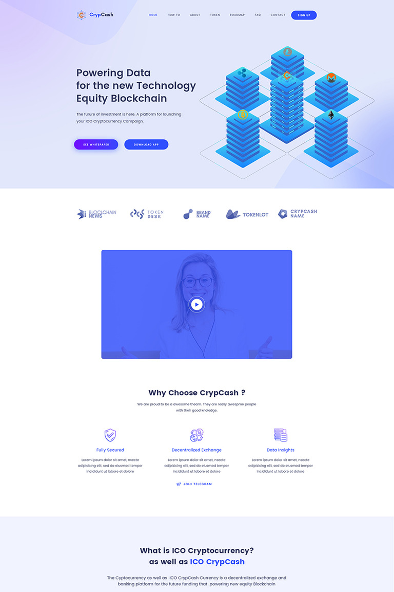 Crypcash - ICO, Bitcoin and Cryptocurrency Landing page WordPress Theme