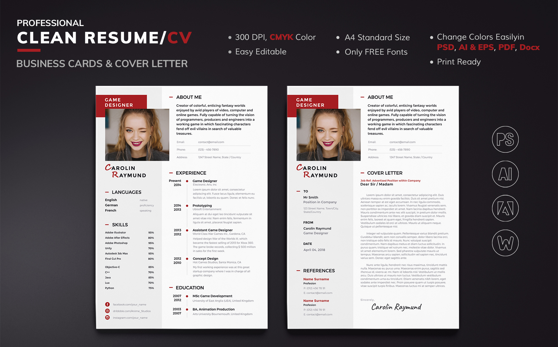 Carolin Raymund  Game Designer Resume Template