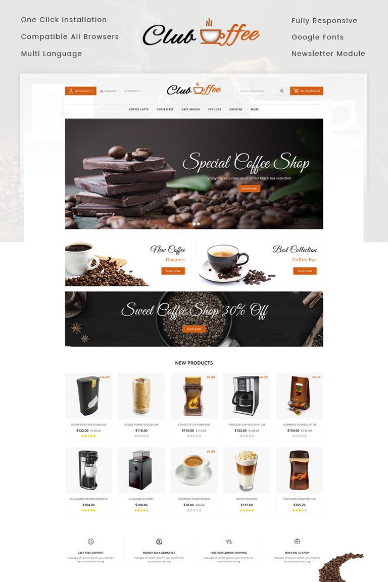 OpenCart Vorlage #73638 für Kaffeeshop