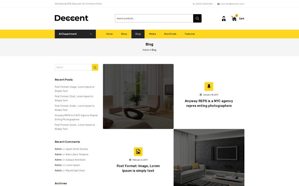 Tema para woocommerce - Categoría: Decoración y muebles - versión para Desktop
