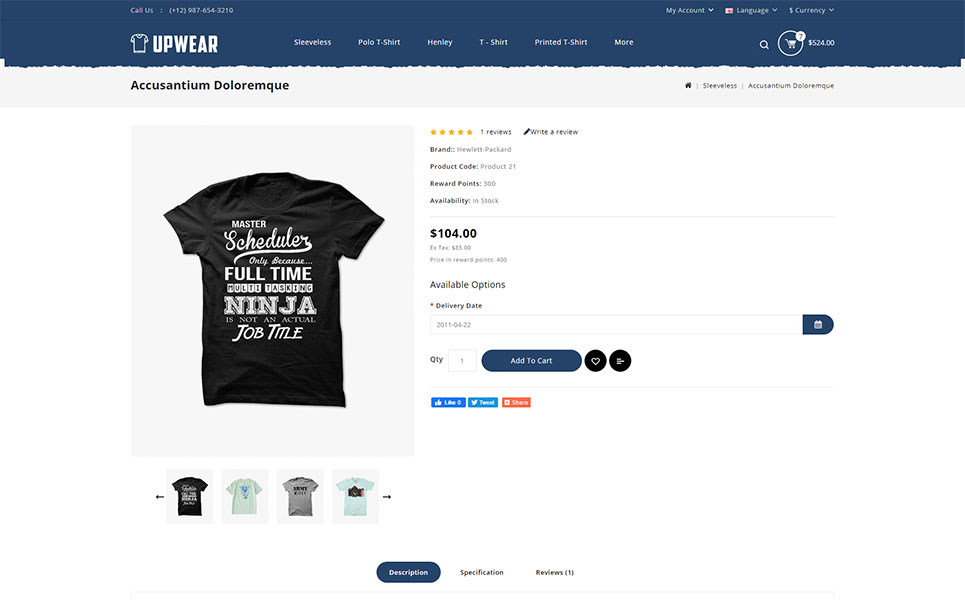 Upwear - Tshirt Store OpenCart Template