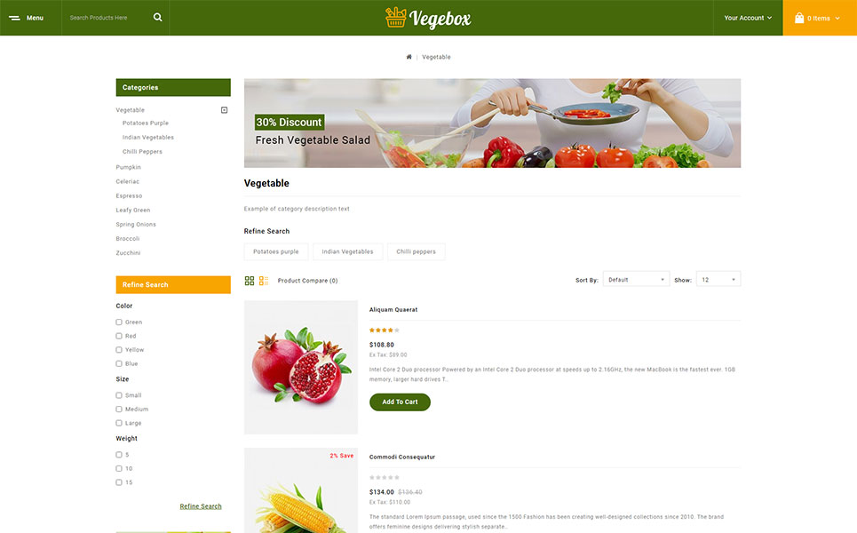 Vegebox - Fresh Vegetables Store OpenCart Template