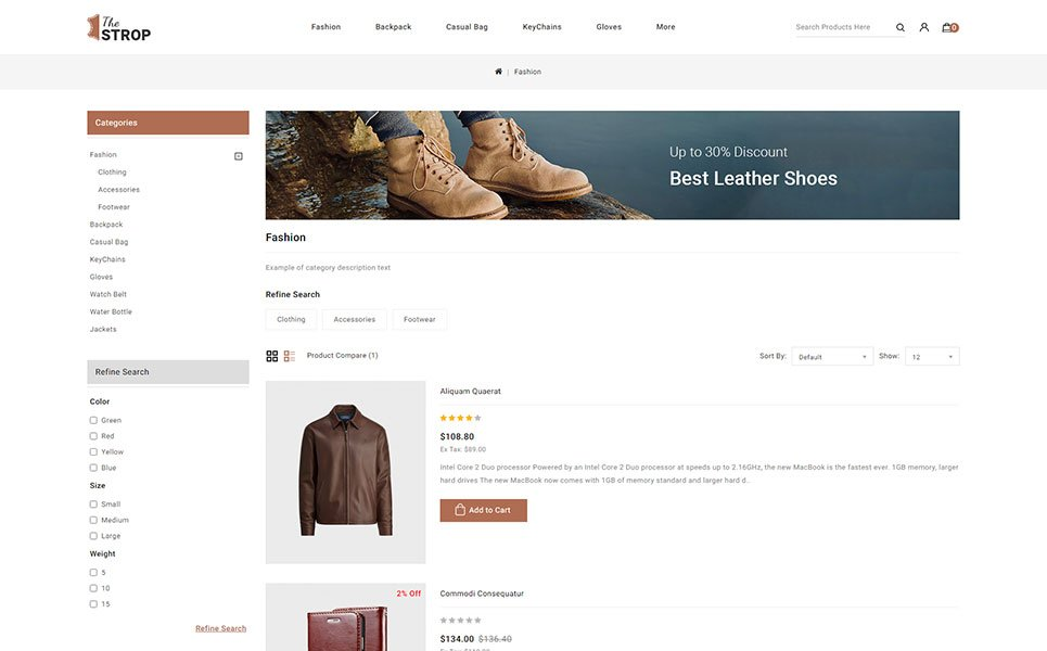 The Strop Leather Store OpenCart Template