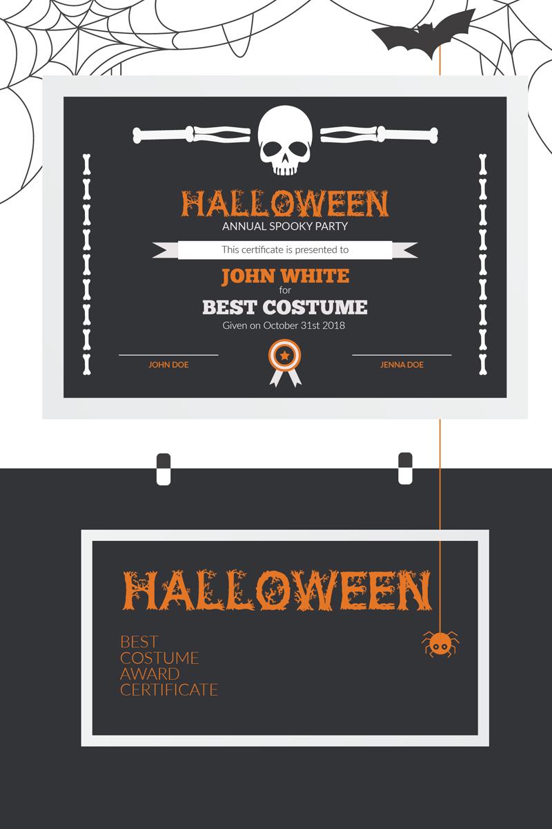 Halloween Best Costume Award Certificate Template 73973